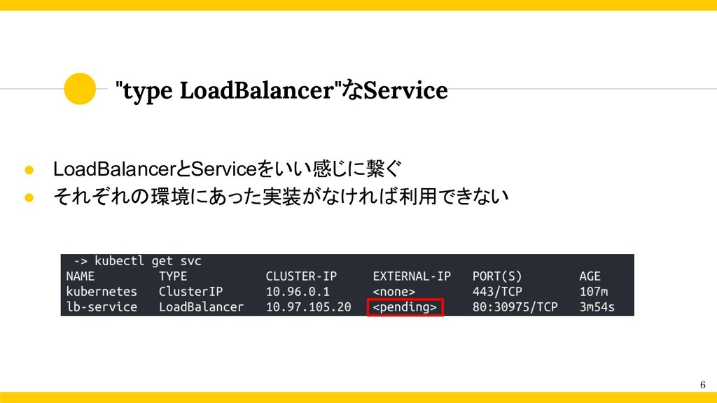 "6 ""type LoadBalancer""なService ● LoadBalancerとSe..."