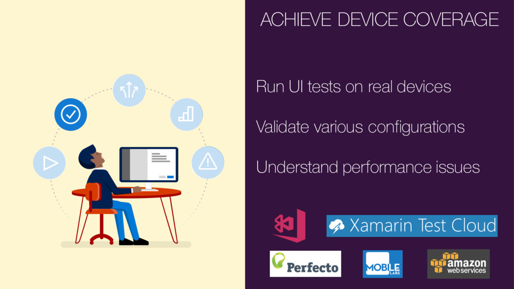 ACHIEVE DEVICE COVERAGE Run UI tests on real de...