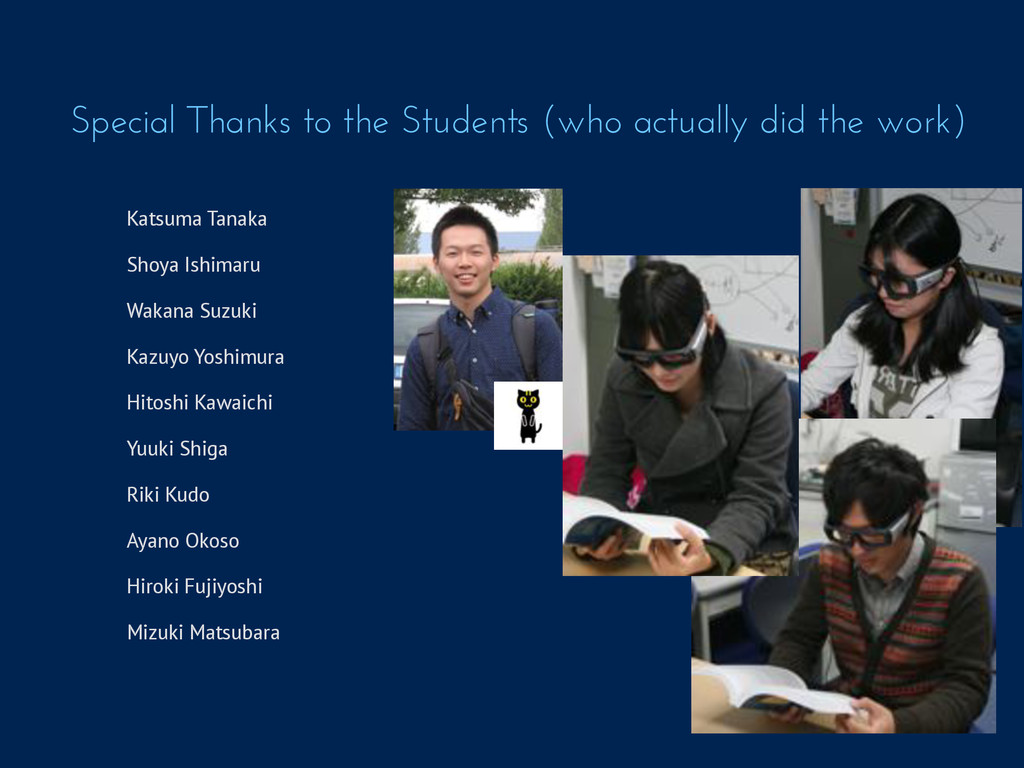 Special Thanks to the Students (who actually di...