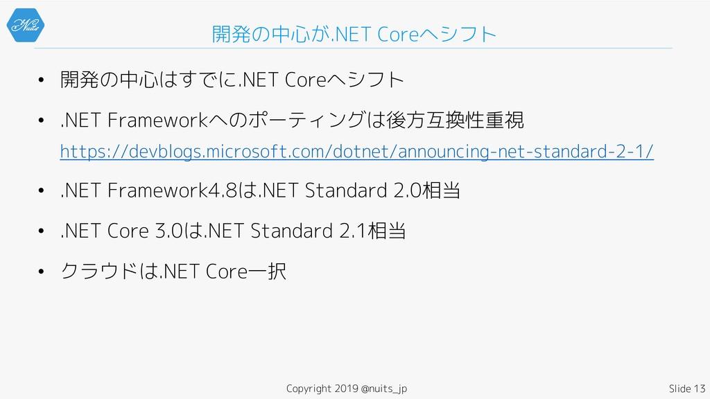 • 開発の中心はすでに.NET Coreへシフト • .NET Frameworkへのポーティ...