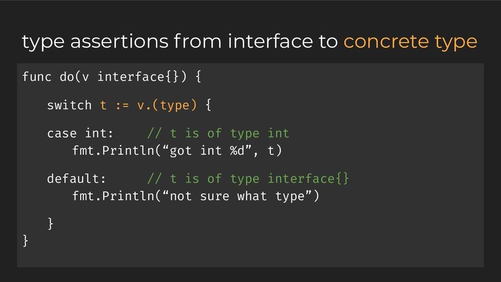 func do(v interface{}) { switch t := v.(type) {...
