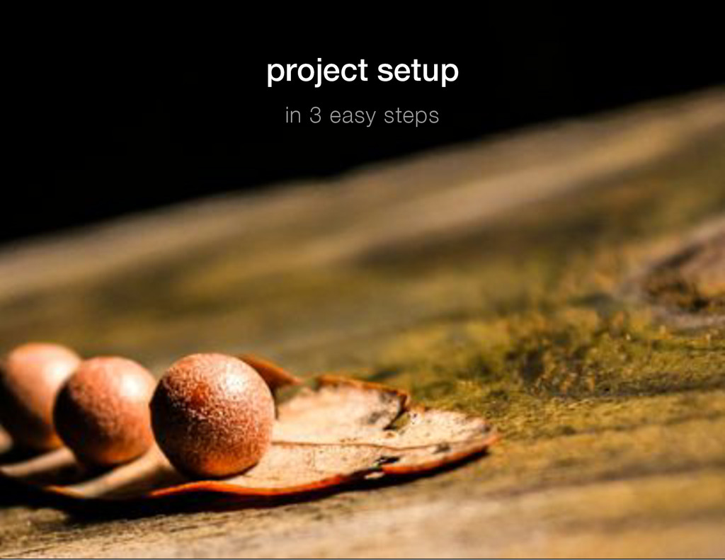project setup in 3 easy steps
