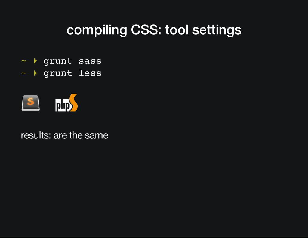 compiling CSS: tool settings ~ ▸ grunt sass ~ ▸...