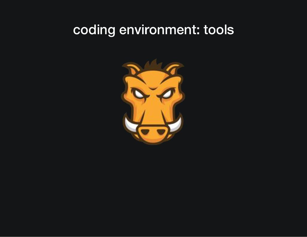 coding environment: tools