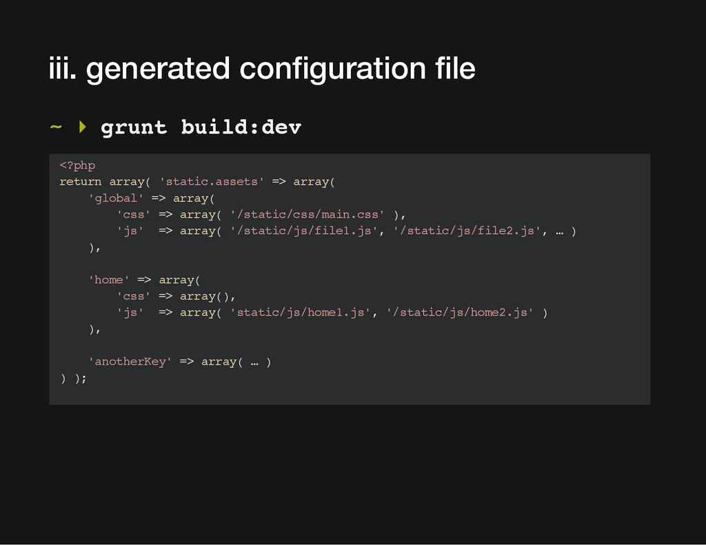 iii. generated configuration file ~ ▸ grunt bui...