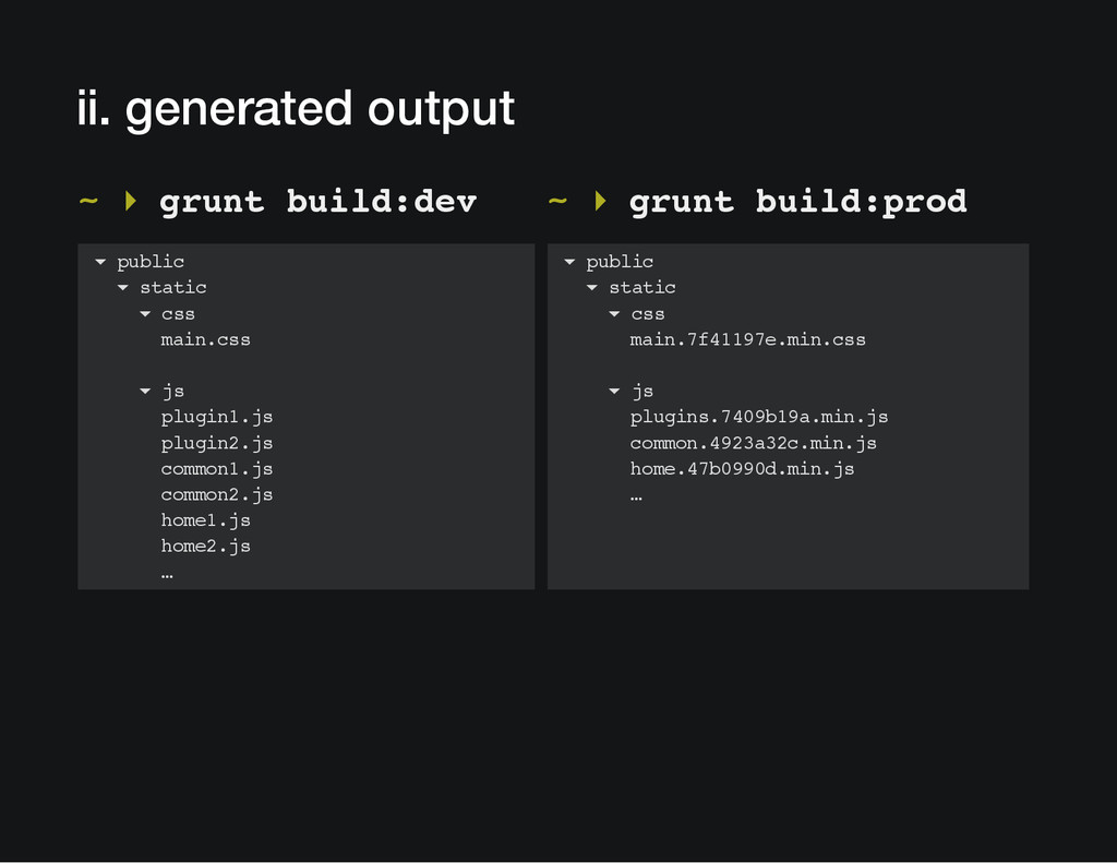 ii. generated output ~ ▸ grunt build:dev ~ ▸ gr...