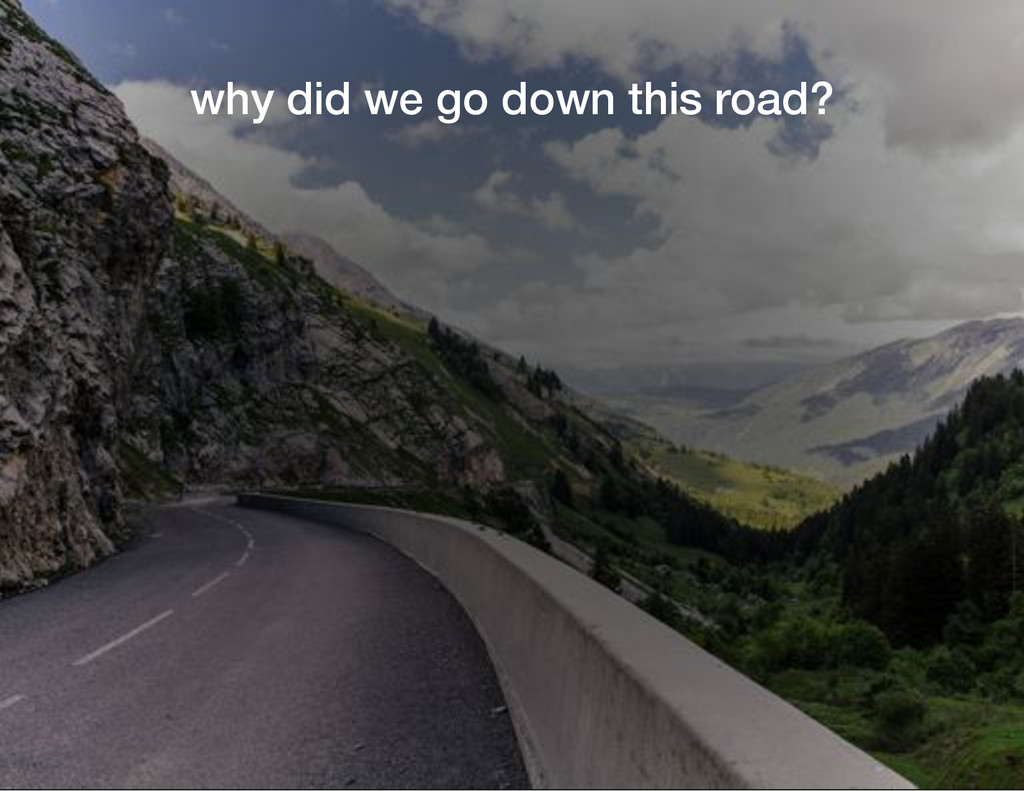 why did we go down this road?