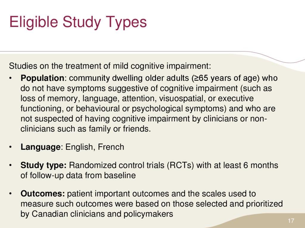Eligible Study Types Studies on the treatment o...