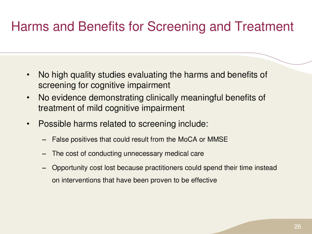 Harms and Benefits for Screening and Treatment ...