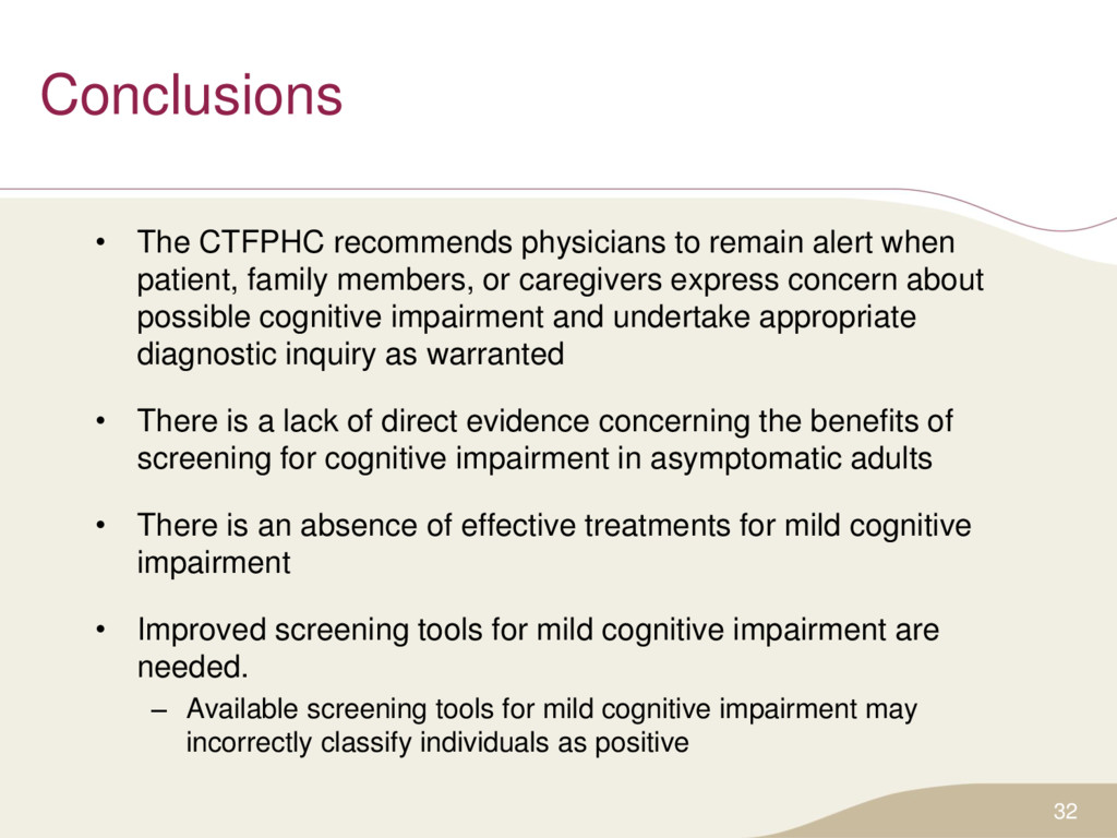 Conclusions • The CTFPHC recommends physicians ...