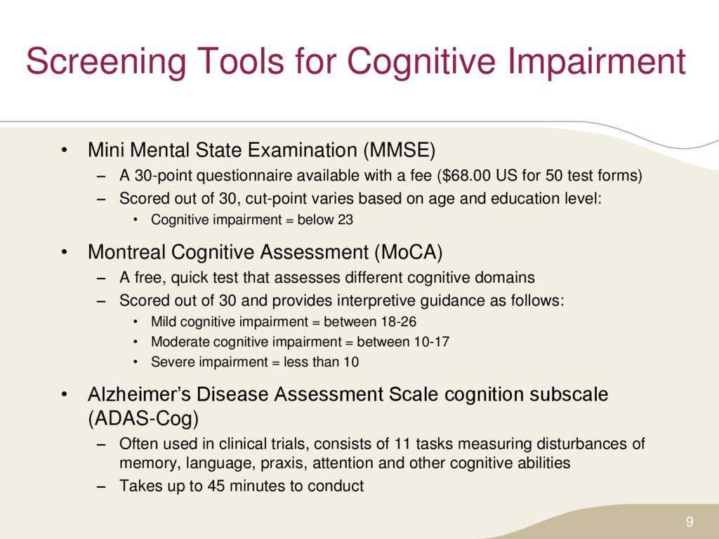Screening Tools for Cognitive Impairment • Mini...