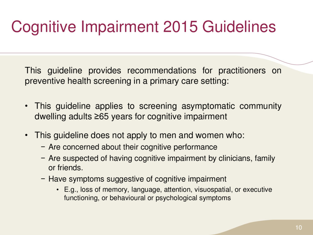 Cognitive Impairment 2015 Guidelines This guide...