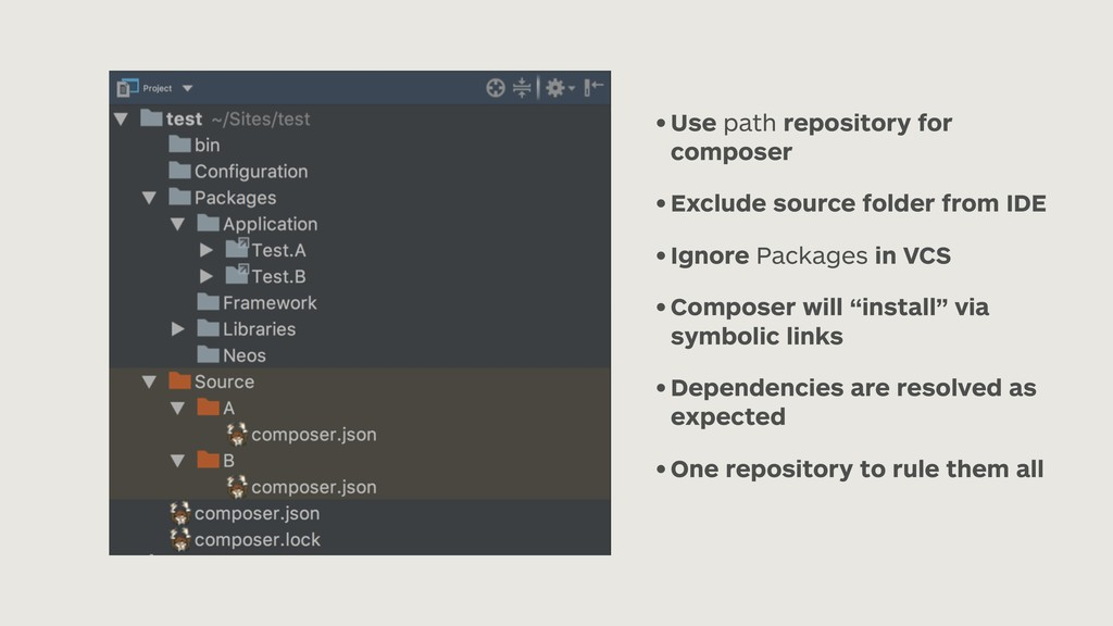 • Use path repository for composer • Exclude so...