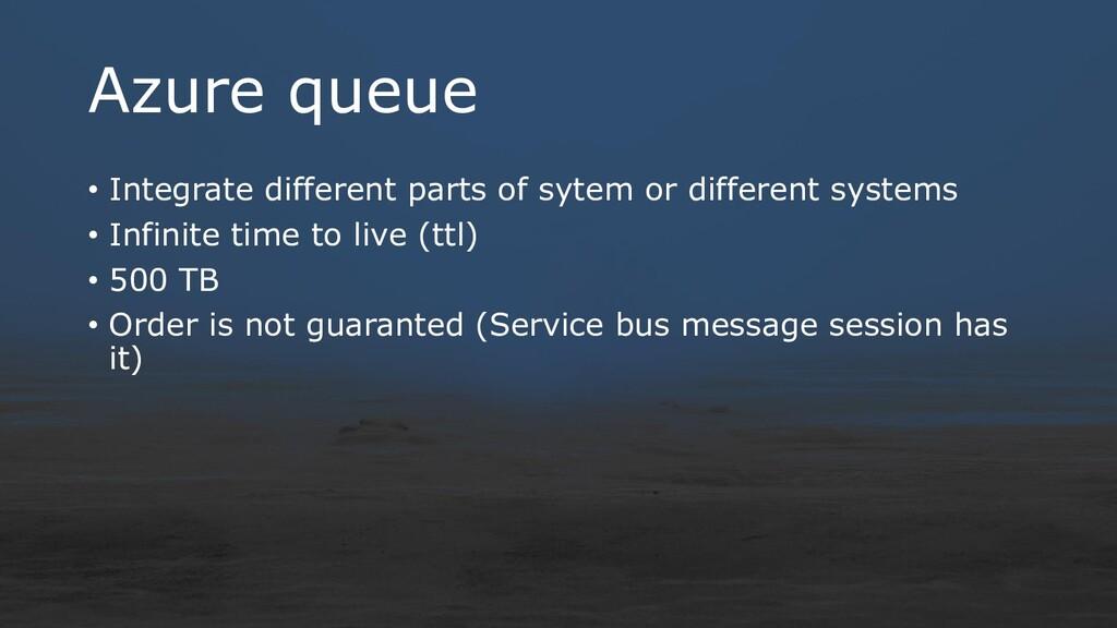 Azure queue • Integrate different parts of syte...