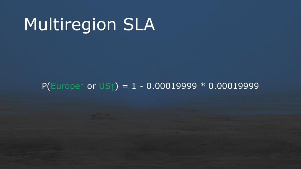 Multiregion SLA P(Europe↑ or US↑) = 1 - 0.00019...