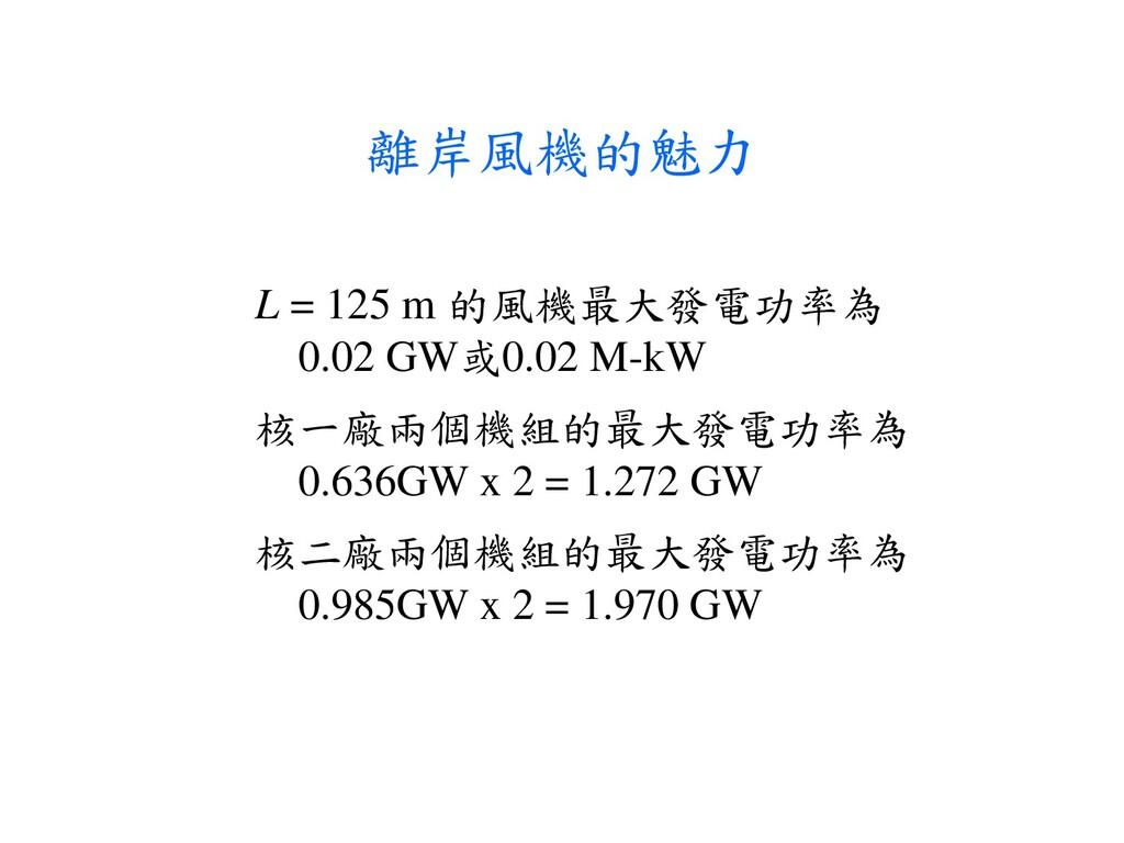 離岸風機的魅力 L = 125 m 的風機最大發電功率為 0.02 GW或0.02 M-kW ...