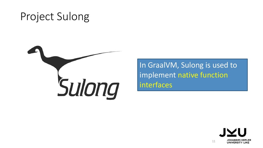 Project Sulong 11 In GraalVM, Sulong is used to...