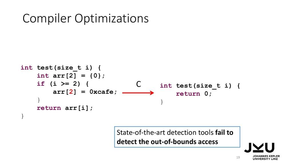 Compiler Optimizations 19 int test(size_t i) { ...