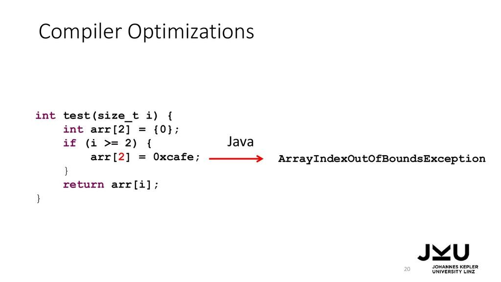 Compiler Optimizations 20 ArrayIndexOutOfBounds...