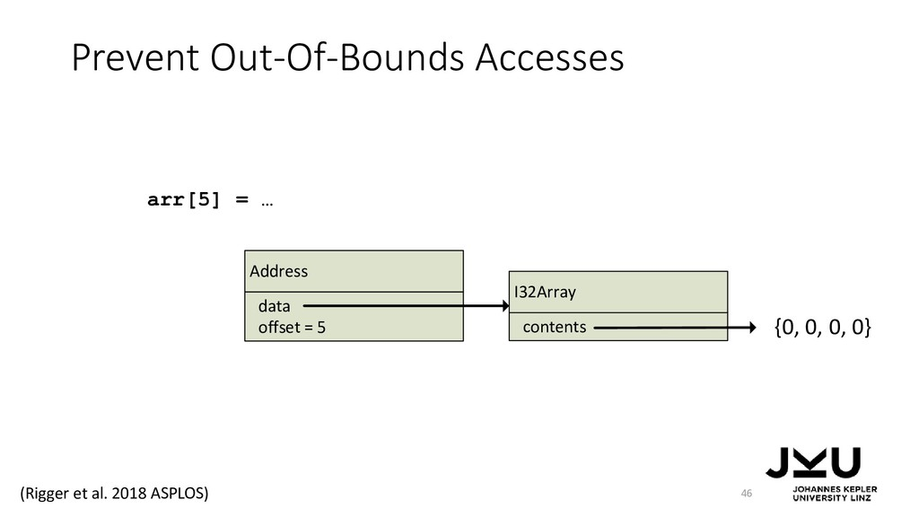 Prevent Out-Of-Bounds Accesses 46 arr[5] = … Ad...