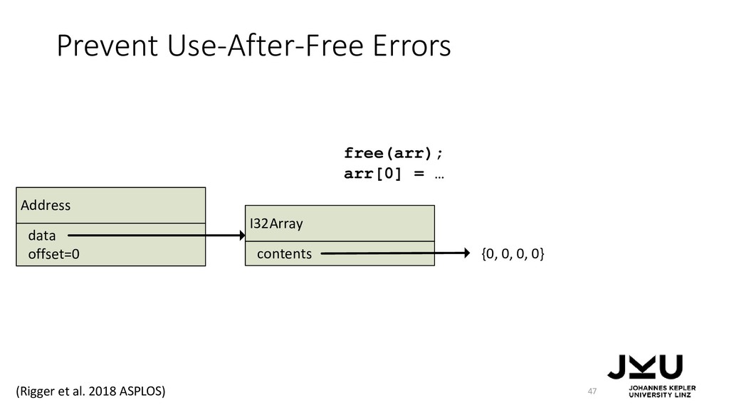 Prevent Use-After-Free Errors 47 free(arr); arr...