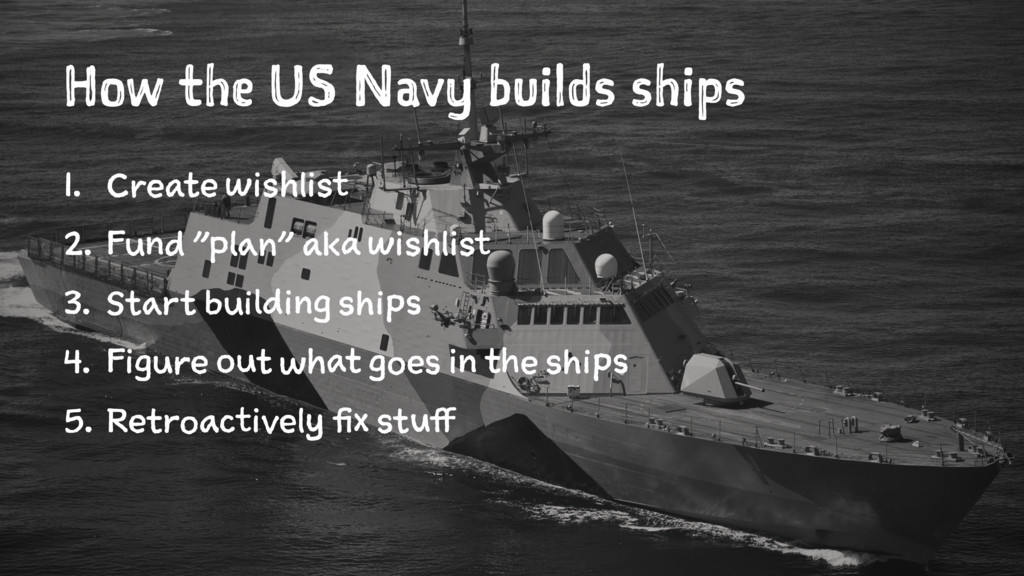 How the US Navy builds ships 1. Create wishlist...