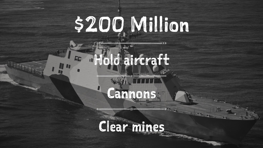 $200 Million Hold aircraft Cannons Clear mines
