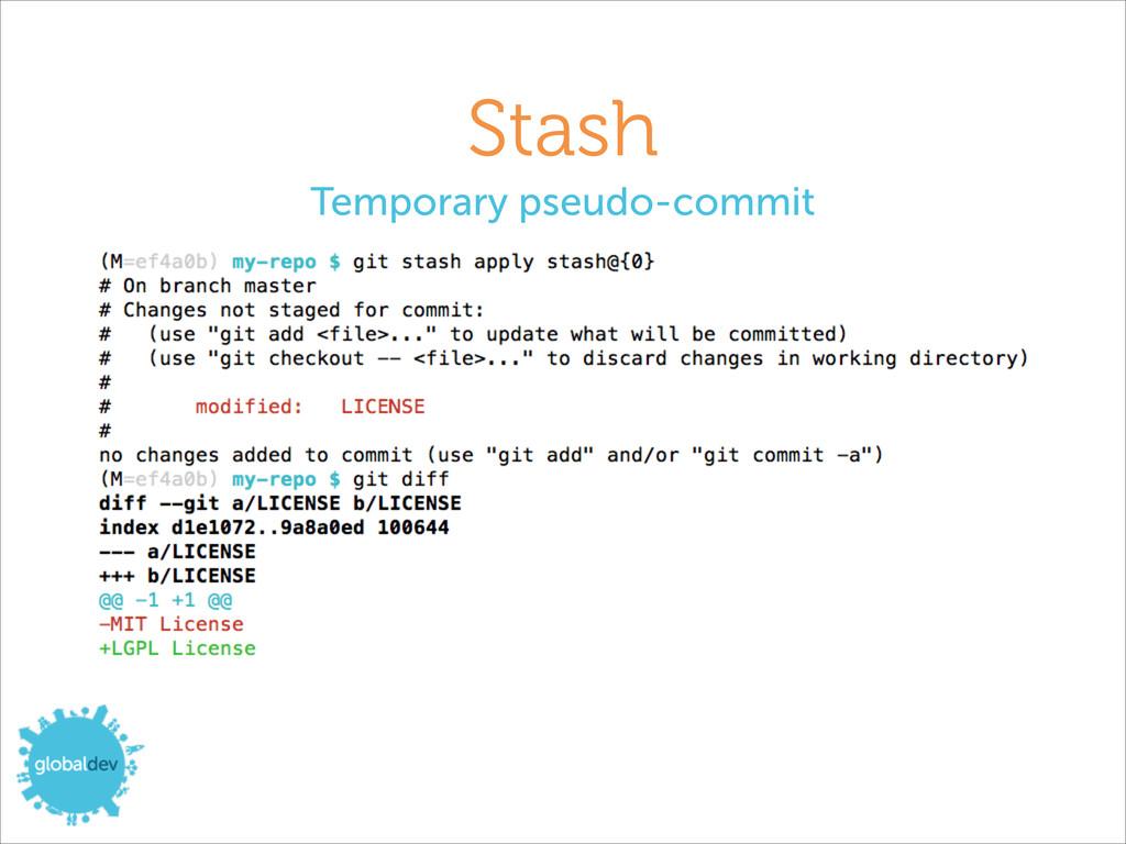 Stash Temporary pseudo-commit