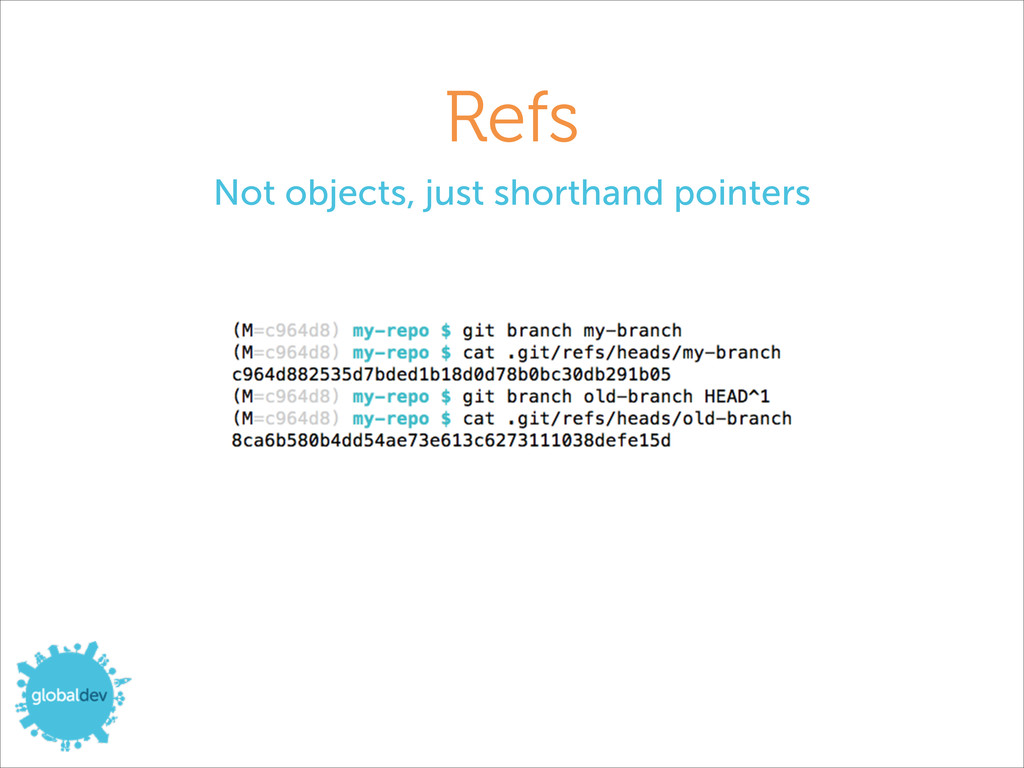 Refs Not objects, just shorthand pointers