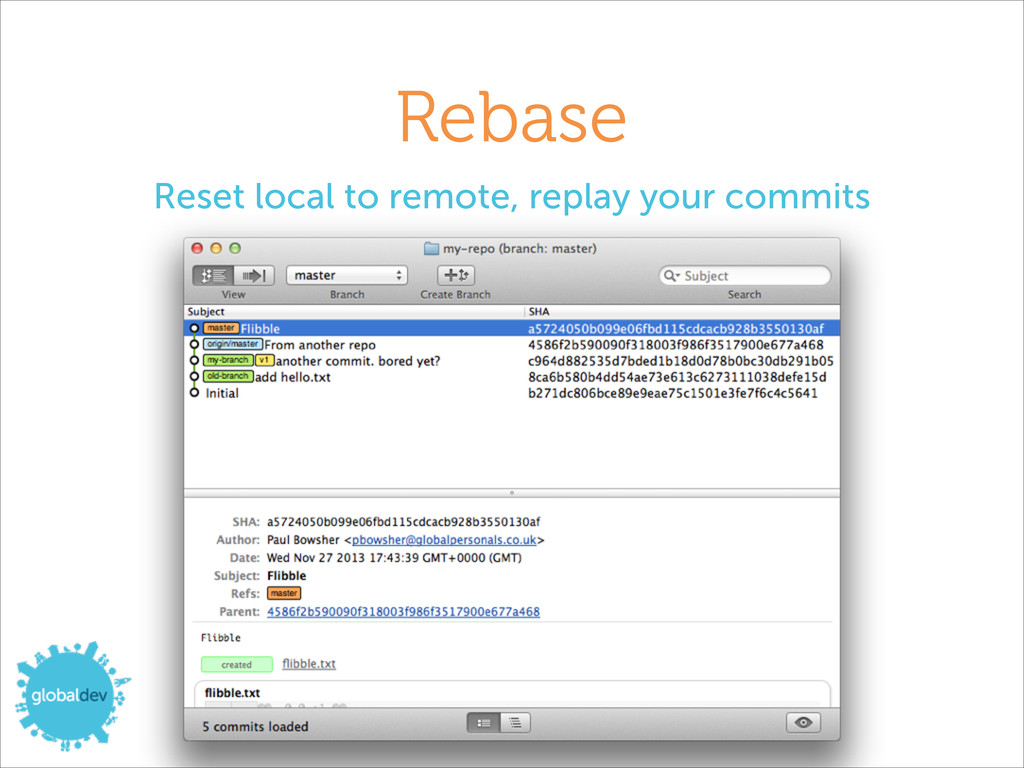 Rebase Reset local to remote, replay your commi...