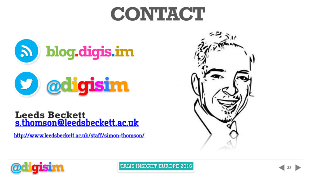 @digisim TALIS INSIGHT EUROPE 2016 33 CONTACT t...