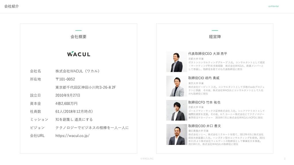 3 © WACUL INC. confidential 会社紹介 経営陣 会社概要 会社名 所...