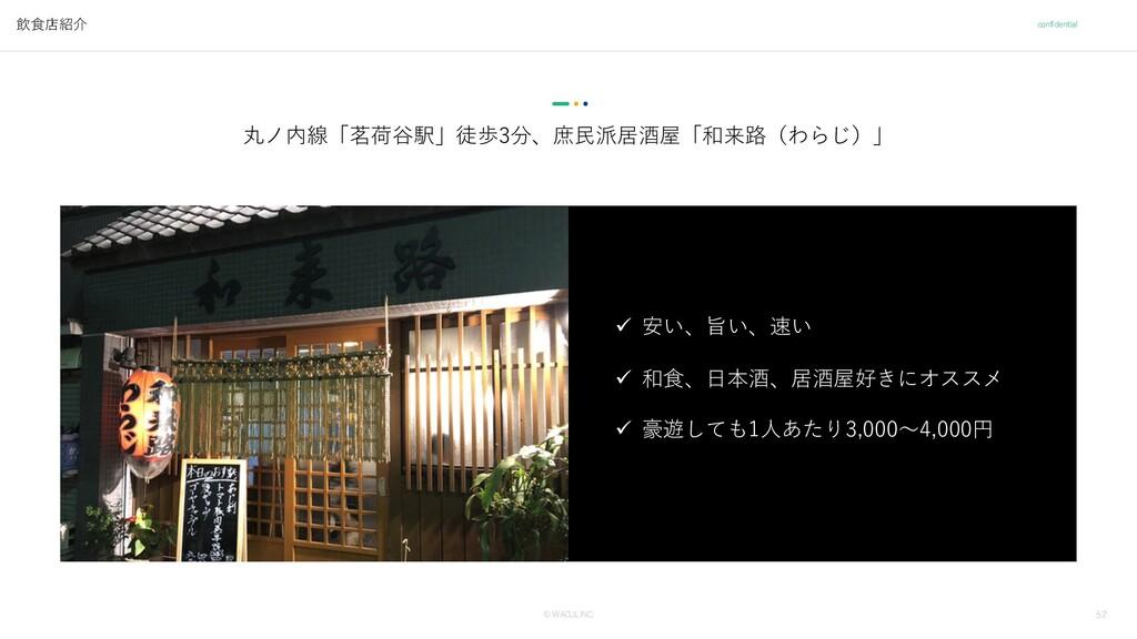 52 © WACUL INC. confidential 飲⾷店紹介 丸ノ内線「茗荷⾕駅」徒歩...