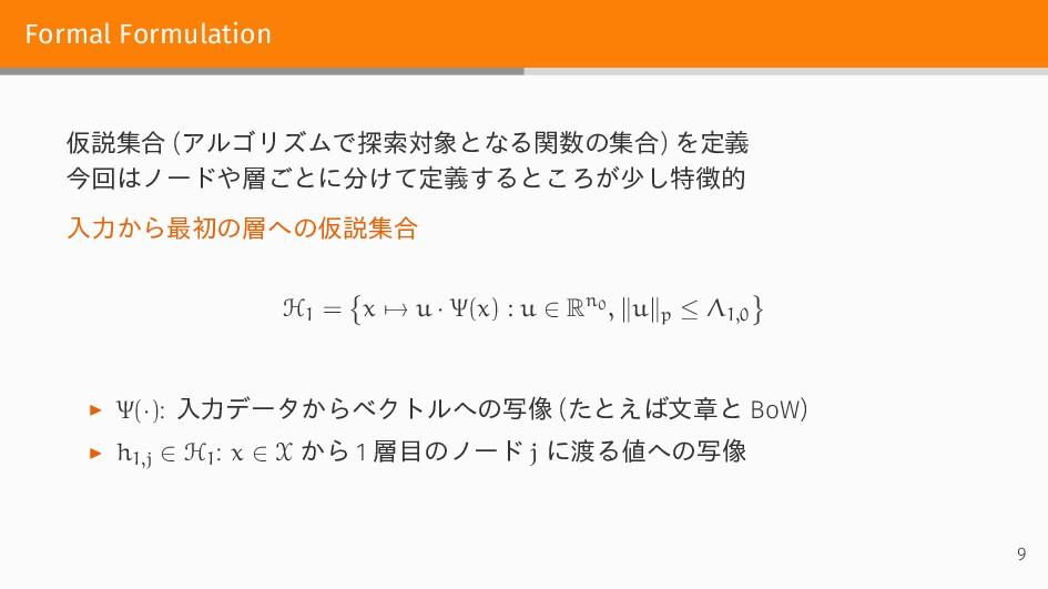 Formal Formulation 仮説集合 (アルゴリズムで探索対象となる関数の集合) を...