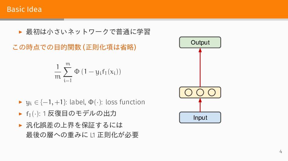 Basic Idea ▶ 最初は小さいネットワークで普通に学習 この時点での目的関数 (正則化...