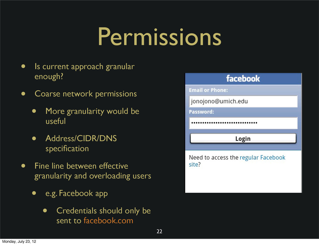 Permissions • Is current approach granular enou...