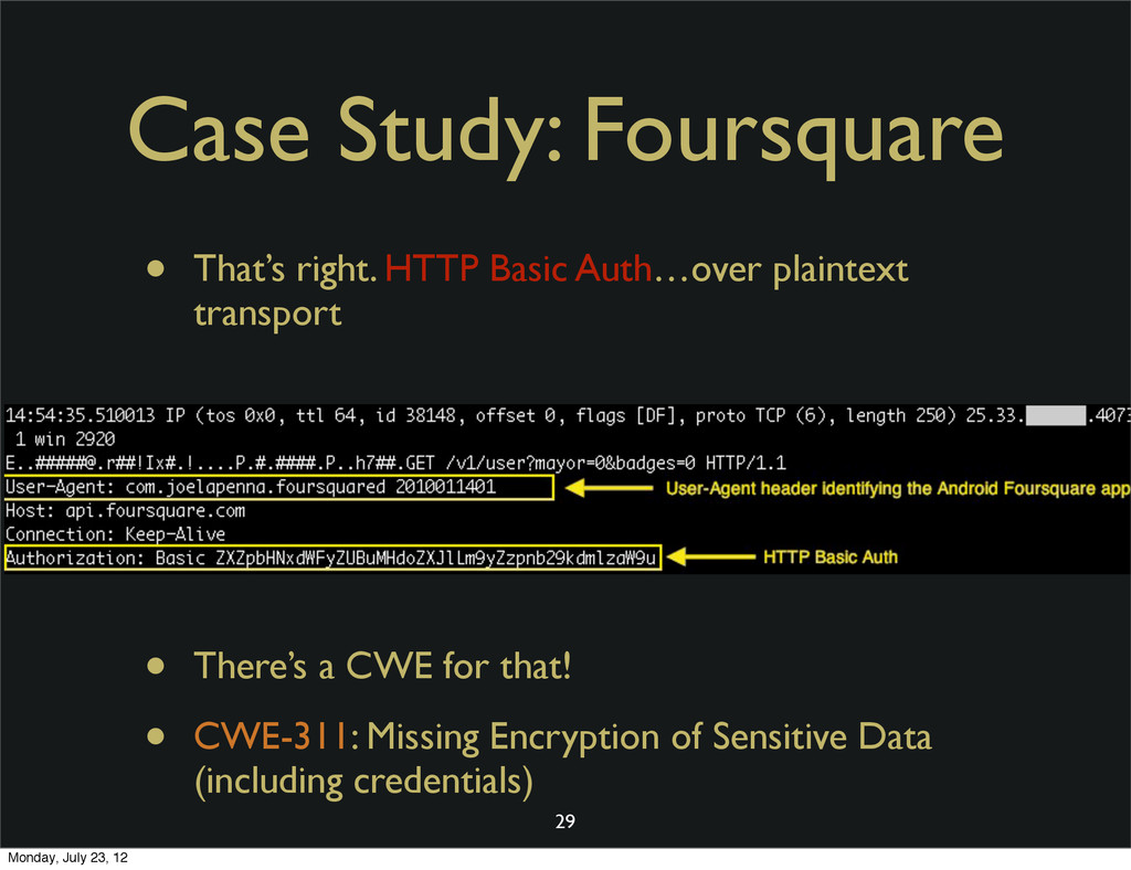 Case Study: Foursquare • That's right. HTTP Bas...