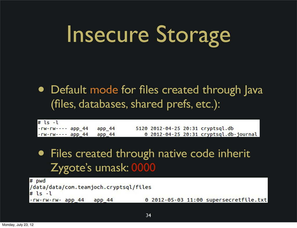 Insecure Storage • Default mode for files create...