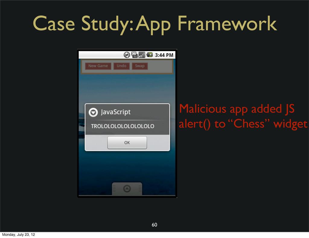 Case Study: App Framework 60 Malicious app adde...