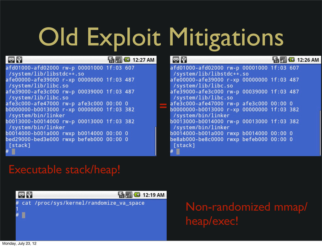 Old Exploit Mitigations Executable stack/heap! ...