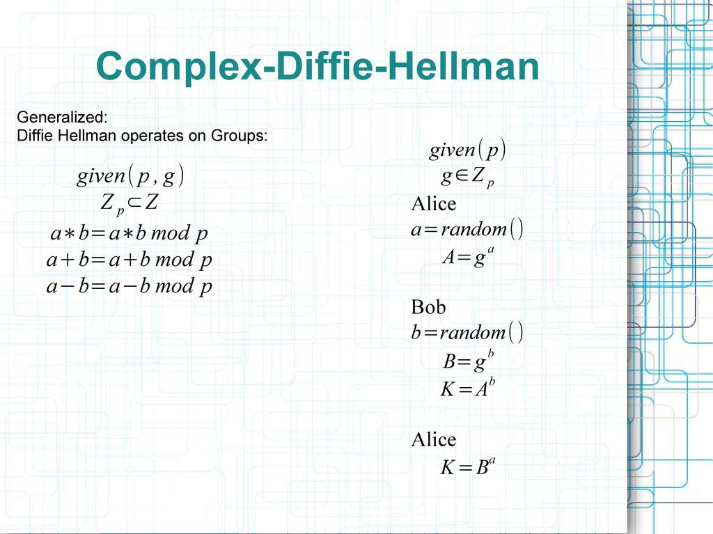 Complex-Diffie-Hellman Generalized: Diffie Hell...
