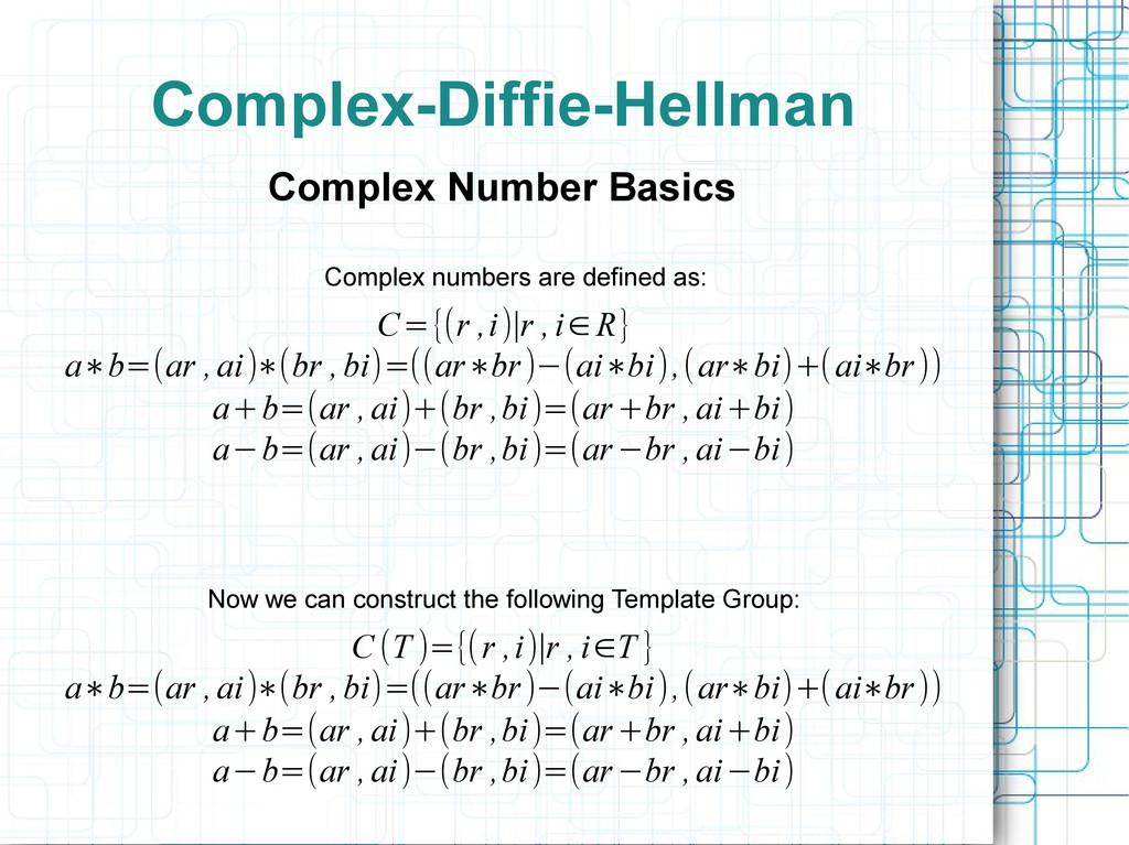Complex-Diffie-Hellman Complex Number Basics C ...