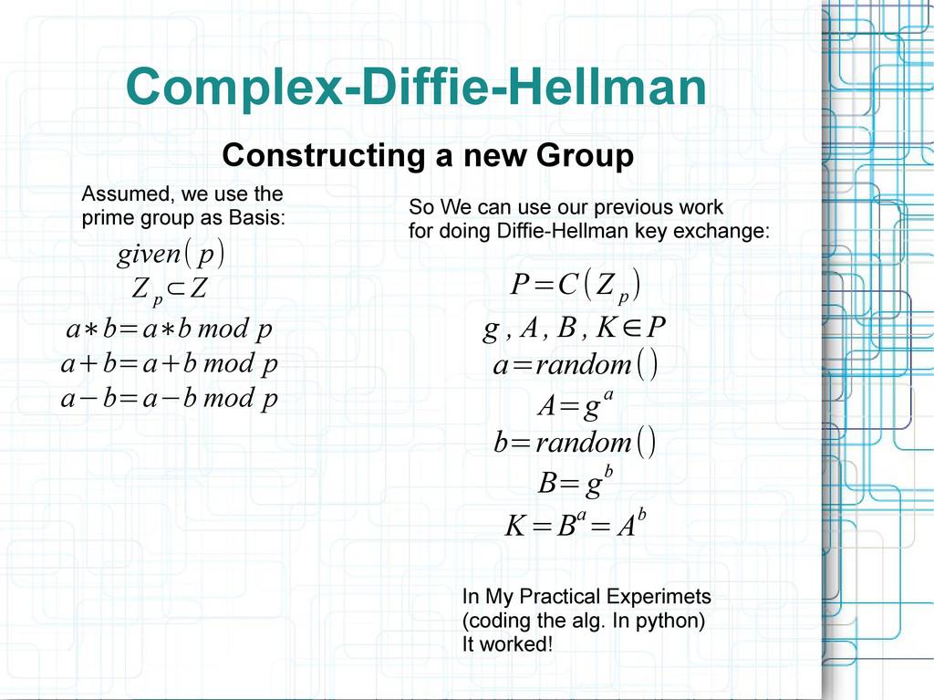 Complex-Diffie-Hellman given( p) Z p ⊂Z a∗b=a∗b...