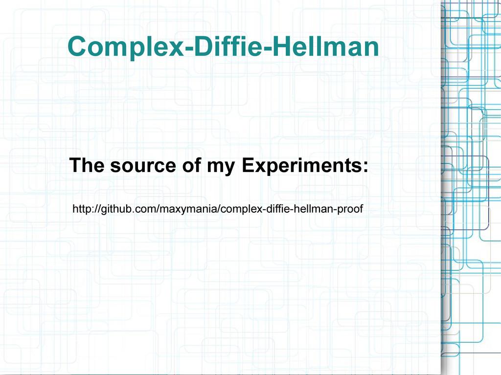 Complex-Diffie-Hellman http://github.com/maxyma...