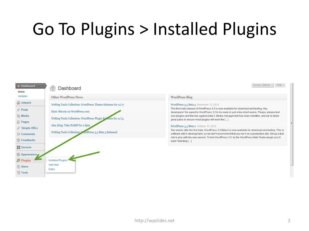 Go To Plugins > Installed Plugins http://wpslid...