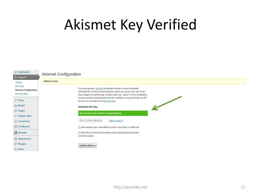 Akismet Key Verified http://wpslides.net 11