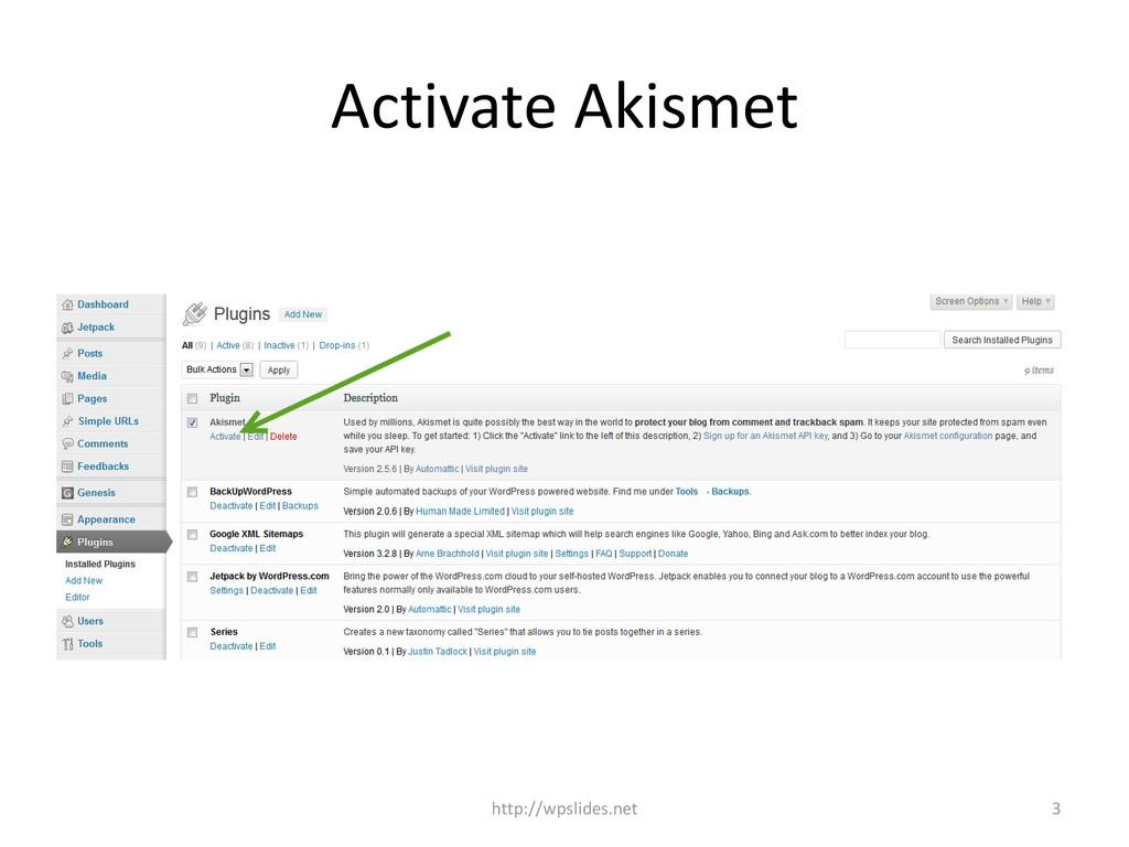 Activate Akismet http://wpslides.net 3