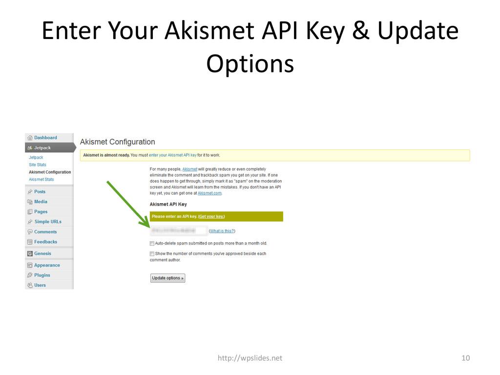 Enter Your Akismet API Key & Update Options htt...