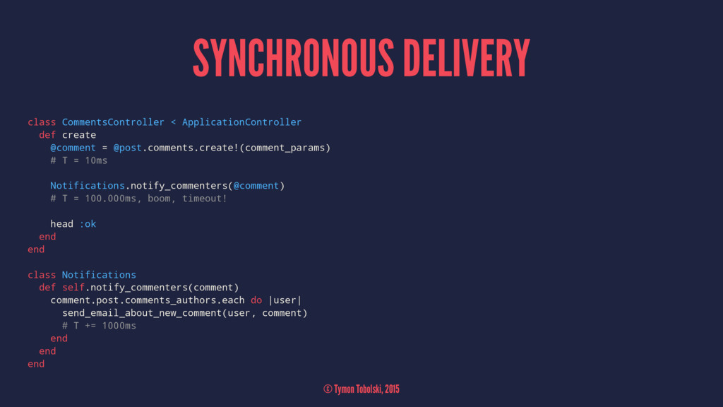 SYNCHRONOUS DELIVERY class CommentsController <...