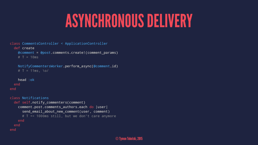 ASYNCHRONOUS DELIVERY class CommentsController ...